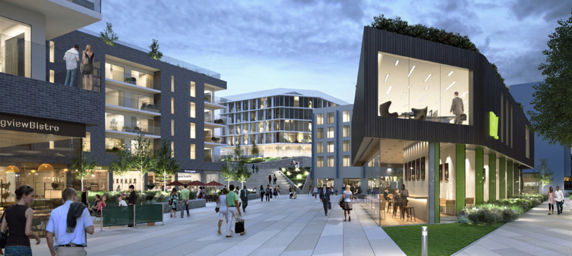 CGI of the courtyard at Basing View, Basingstoke
