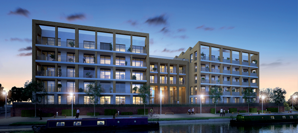 CGI of Chalico Walk, Brentford (night)