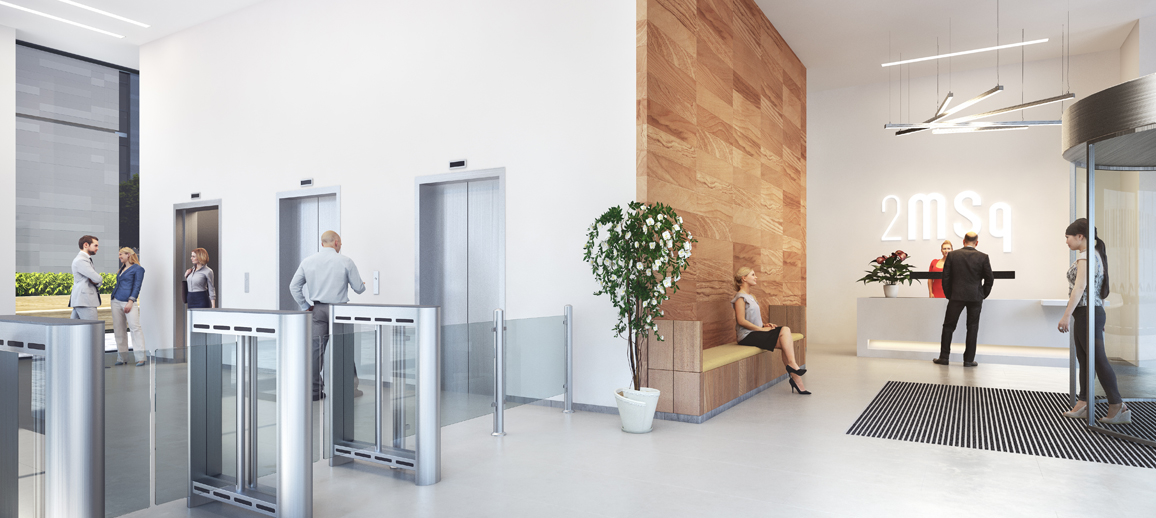CGI of Marischal Square office reception
